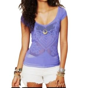 Intimately Free People Laser Cut T-Shirt Blue M/L